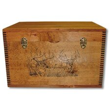 2 Trophy Deer Print Flat Top Trunk