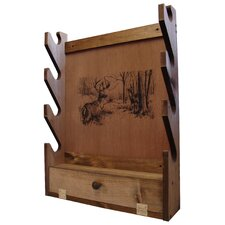 <strong>Evans Sports</strong> 4 Gun Wooden Rack with Deer Print
