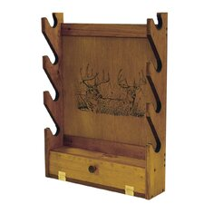4 Gun Wooden Rack with Two Trophy Deer Print