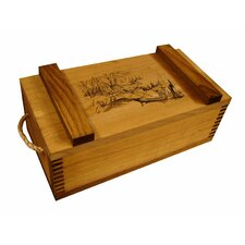 Wooden Crate with Running Deer Print