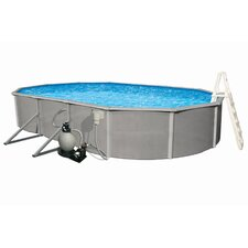 "Oval 48"" Deep 6"" Top Rail Belize Metal Wall Swimming Pool Package"