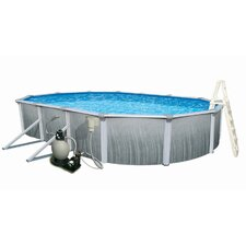 "Round 52"" Deep 7"" Top Rail Martinique Metal Wall Swimming Pool Package"