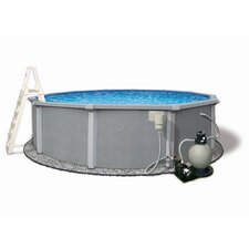 "Round 54"" Deep 8"" Resin Top Rail Zanzibar Swimming Pool Package"