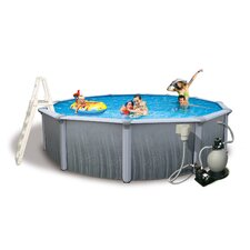 "Martinique Round 52"" Deep 7"" Top Rail Above Ground Pool Package"