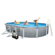 "<strong>Swim Time</strong> Martinique Oval 52"" Deep 7"" Top Rail Metal Wall Swimming Pool Package"