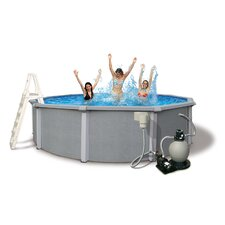 "<strong>Swim Time</strong> Zanzibar Round 54"" Deep 8-in Top Rail Pool Package"