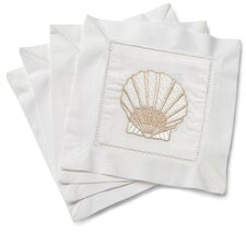 Scallop Shell Embroidered Cocktail Napkins (Set of 4)
