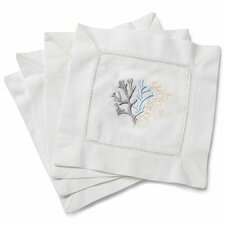 Coral Embroidered Cocktail Napkins (Set of 4)