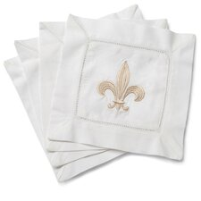 <strong>Jacaranda Living</strong> Fleur-de-lis Embroidered Cocktail Napkins (Set of 4)