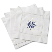 <strong>Jacaranda Living</strong> Compass Rose Embroidered Cocktail Napkins (Set of 4)