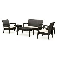 Miami Resin Wickerlook 6 Piece Lounge Seating Group with Cushions