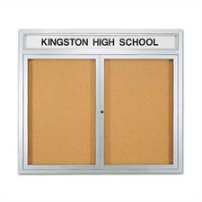 Wall-Mounted Enclosed Bulletin Boards with Name Header - Aluminum
