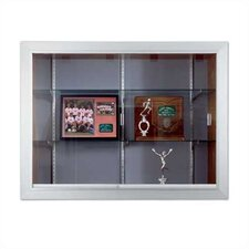 Series 60 Recessed Sliding Glass Door Trophy Cases - Natural Cork / Wood Veneer, With Lighting