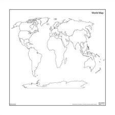 Magnetic Dry-Erase Teaching Aides Mat - World Map