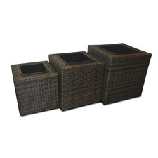 Square Rattan Planters (Set of 3)