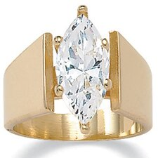 Gold Plated Marquise Solitaire Cubic Zirconia Ring