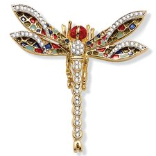 Goldtone Crystal Dragonfly Pin
