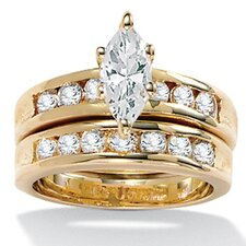Gold Plated Marquise-Cut and Round Cubic Zirconia Wedding Set