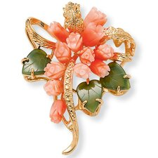 Goldtone Coral/Jade Flower Pin