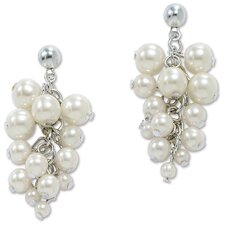 Silvertone Simulated Cultured Pearl Earrings
