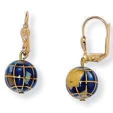Gold Plated Mosaic Globe Pierced Earrings