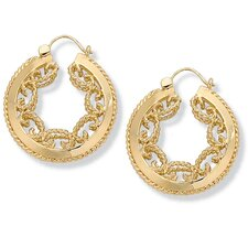 <strong>Palm Beach Jewelry</strong> Gold Plated Scroll Hoop Earrings