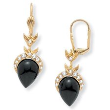 Goldtone Onyx Pear-Shaped Earrings