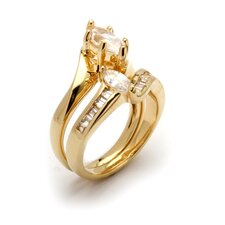 Gold Plated Cubic Zirconia Wedding Ring Set