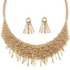 Goldtone 3 Piece Bib Necklace and Earring Set
