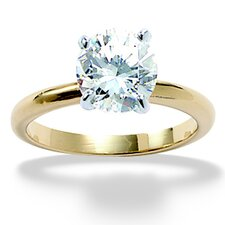 <strong>Palm Beach Jewelry</strong> Gold Plated Tutone Cubic Zirconia Engagement Ring