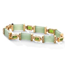 "8"" Sterling Silver Jade and Peridot Link Bracelet"
