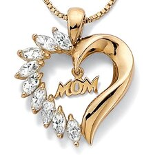18k Gold/Silver Cubic Zirconia Mom Heart Chain