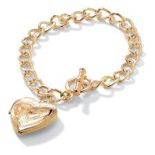 <strong>Palm Beach Jewelry</strong> Gold Plated Locket Charm Bracelet