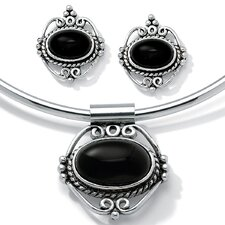Silvertone 3 Piece Onyx Collar and Earring Set