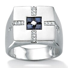 <strong>Palm Beach Jewelry</strong> Sterling Silver Men's Blue Sapphire Ring