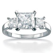 Platinum/Silver Triple Princess-Cut Cubic Zirconia Ring