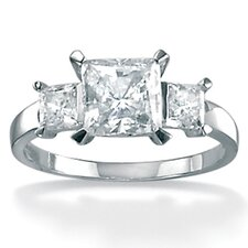 Platinum/Silver Triple Princess-Cut Cubic Zirconia Ring