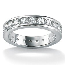 <strong>Palm Beach Jewelry</strong> Platinum/Silver Cubic Zirconia Round Eternity Ring