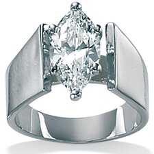 Sterling Silver Cubic Zirconia Marquise-Cut Ring