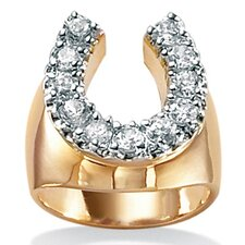 <strong>Palm Beach Jewelry</strong> 18k Gold/Silver Men's Cubic Zirconia Horseshoe Ring