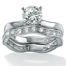 Platinum/Silver Round Cubic Zirconia Wedding Ring 2 Piece Set