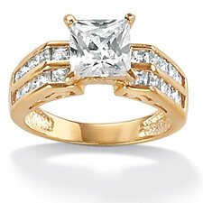 Sterling Silver Cubic Zirconia Gold Ring
