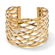 "7.5"" Goldtone Lattice Cuff Bracelet"