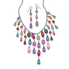 Silvertone Crystal Necklace and Earrings Set