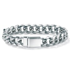 Stainless/Silvertone Curb-Link Bracelet