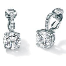Platinum/Silver Cubic Zirconia Clip-On Earrings