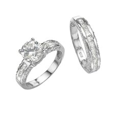 Platinum/Silver 2 Piece Cubic Zirconia Ring Set