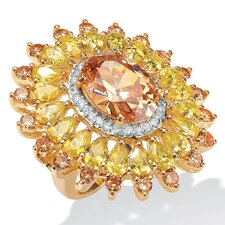 Gold Plated Champagne/Yellow/White Cubic Zirconia Ring