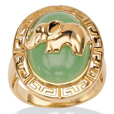 18k Gold/Silver Green Jade Elephant Ring