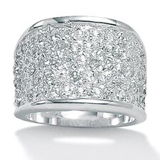 Silvertone Diamond Ultra Cubic Zirconia Ring